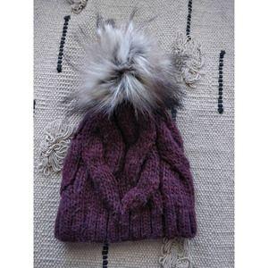 Italian Wool Cable Knit Chunky Fur Pom Pom Beanie
